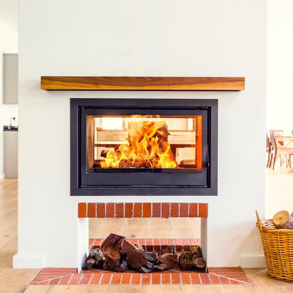 titan double sided glass cast iron fireplace built in